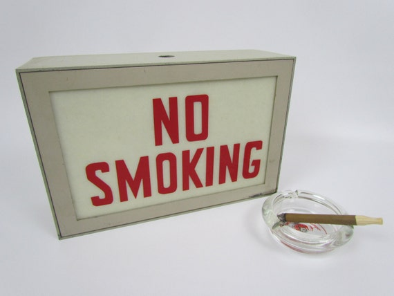 Vintage NO SMOKING sign, mid century office light box style