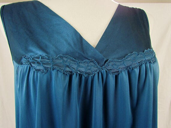 Vintage Vanity Fair short nightgown in rare deep teal color, size XL