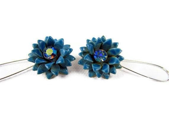 Sassy vintage flower power earrings on modern wires, blue enamel with blue AB center