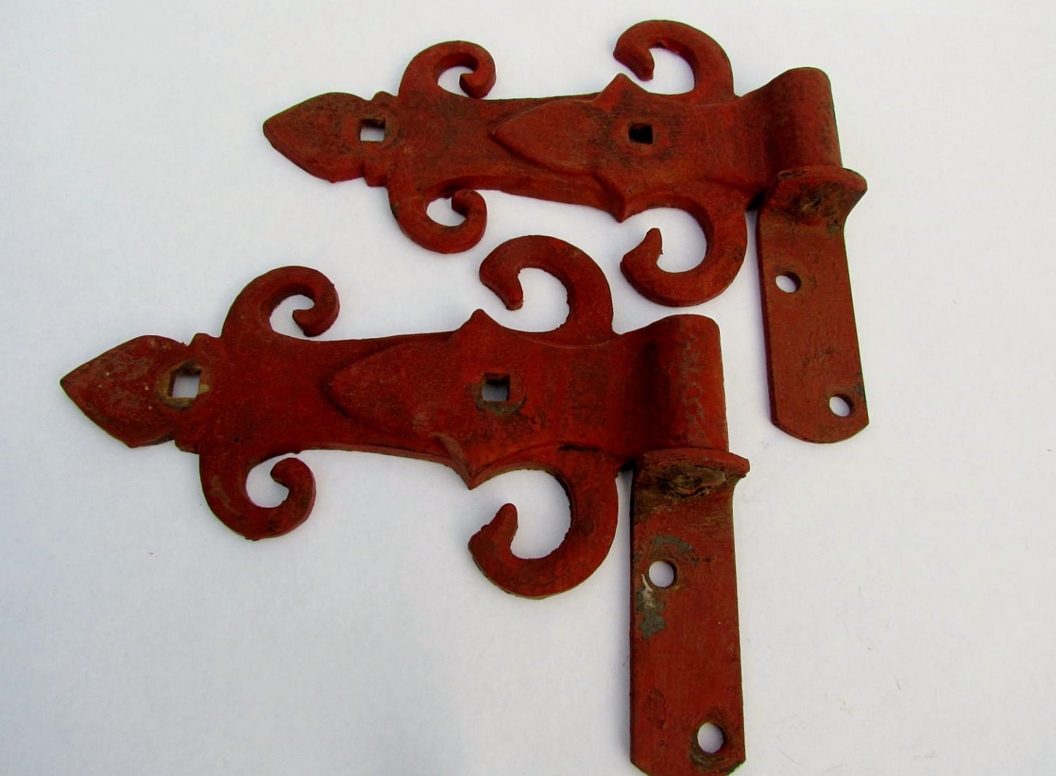 Salvaged Gate Hinges Complete Rustic Red Cast Iron Barn
