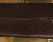 vintage extra large CLUTCH leather purse