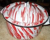 vintage rare red splatter ware ENAMEL POT with LID