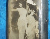vintage rare antique RISQUE VICTORIAN MANS money clip box or cigarette case with old photo of boudoir ladies