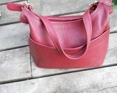 vintage RED LEATHER COACH hobo bag