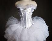 Custom size White Tulle Burlesque Corset Prom Dress