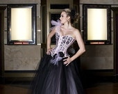 Size Small black and light pink tulle prom ballgown Ready to Ship