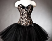 Custom Size black and gold lace burlesque corset prom dress with tulle skirt