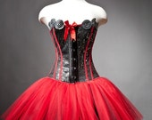Private listing for Wendy sequin red and black burlesque corset prom dress RUSH ORDER