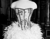 Size Small black and white burlesque corset feather dress Ready to Ship