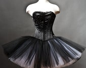 Private listing for moon light RUSH ORDER with straps ribbon Black and White rhinestone tulle Burlesque Corset Prom Dress