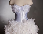 Custom Size White Burlesque Corset Feather Wedding Dress Unique