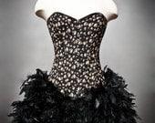 Custom size Black and ivory skull Burlesque Feather Corset Halloween Dress