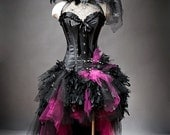Custom Size hot pink and black Feather Burlesque Corset Witch costume with Hat s-xl