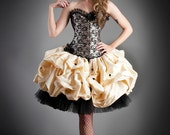 Size small black and gold lace burlesque corset prom dress with tulle and dupioni Ready To Ship