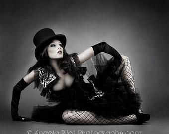 Custom Size black and zebra print tulle corset prom dress with bolero