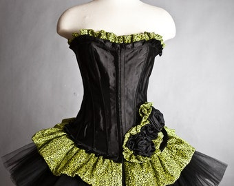 CLEARANCE Size Large lime green and leopard tulle burlesque corset dress Ready to ship