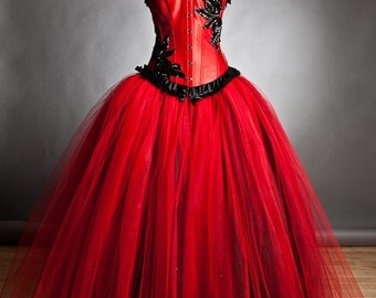 Private listing for Gabriella RUSH ORDER Custom Size red and black burlesque corset Ball gown s-xl
