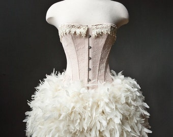 Size small Peach and Ivory Burlesque Feather Corset Dress Ready to ship