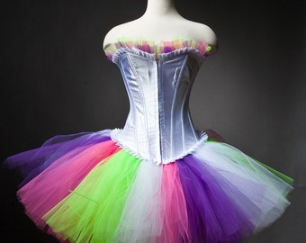 Custom Size neon pink green purple and white burlesque corset prom dress Small-XL