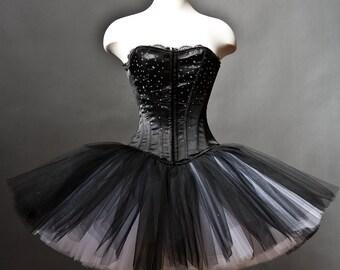 Custom Size Black and White rhinestone tulle Burlesque Corset Prom Dress
