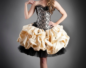 Custom Size black and gold lace burlesque corset prom dress with tulle and dupioni