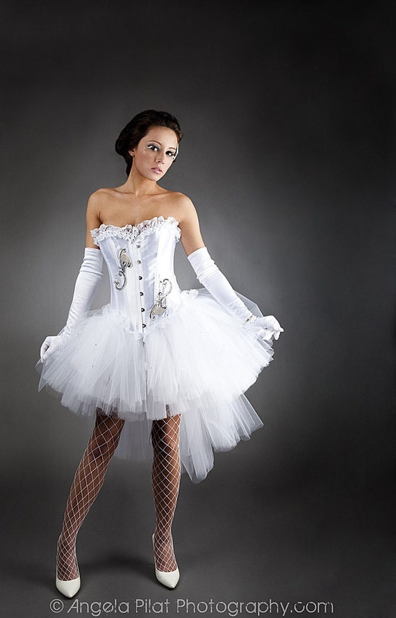 Private listing for Daphne Custom size White tulle Burlesque Corset Prom dress with tulle shawl RUSH ORDER