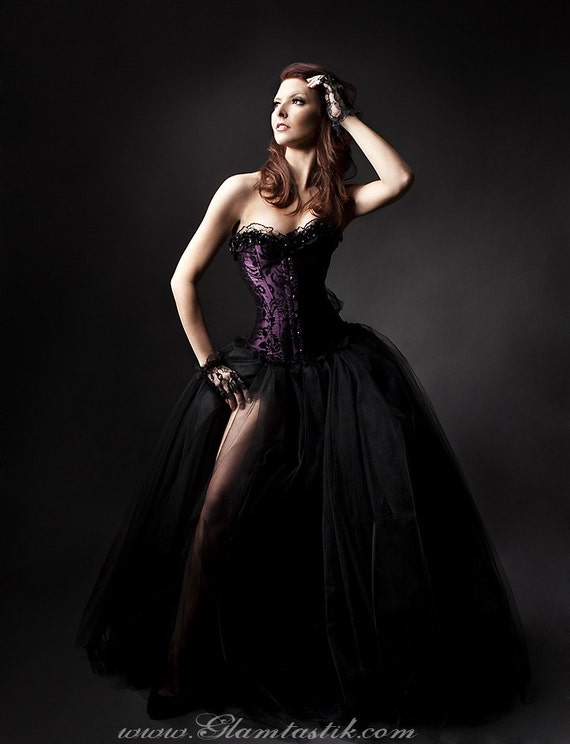 Size Small plum and black burlesque tulle prom dress Ready to Ship
