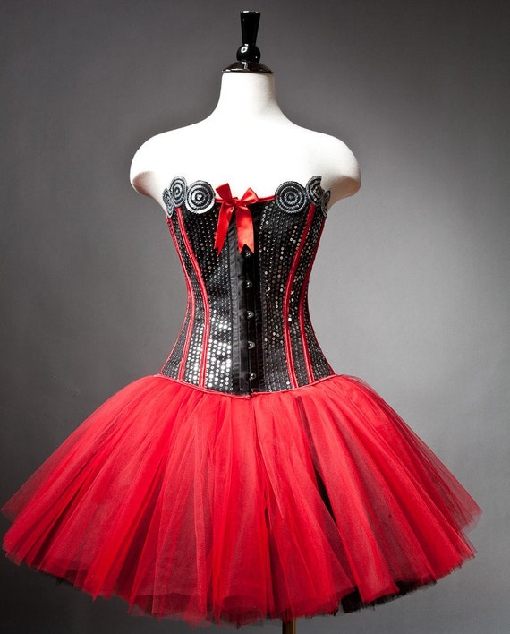Size Medium sequin red and black burlesque corset prom dress ready to ship