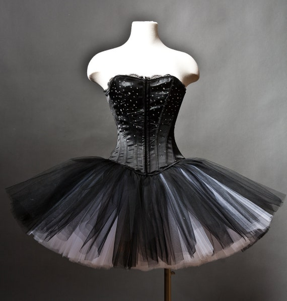 Private listing for Rosemary Custom Size Black and White rhinestone tulle Burlesque Corset Prom Dress RUSH ORDER