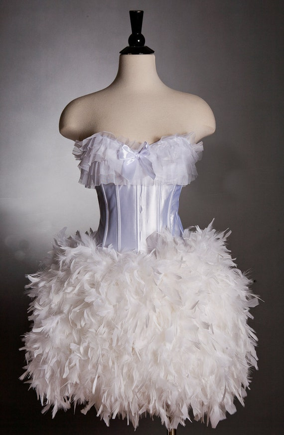 Items similar to custom size white burlesque corset for White feather wedding dress