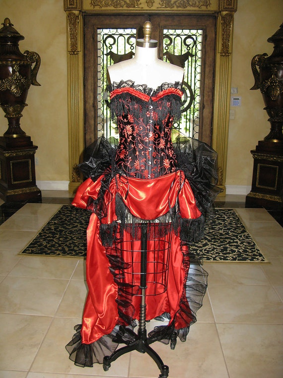 Size Medium Red and Black BUrlesque Saloon Costume Ready to Ship