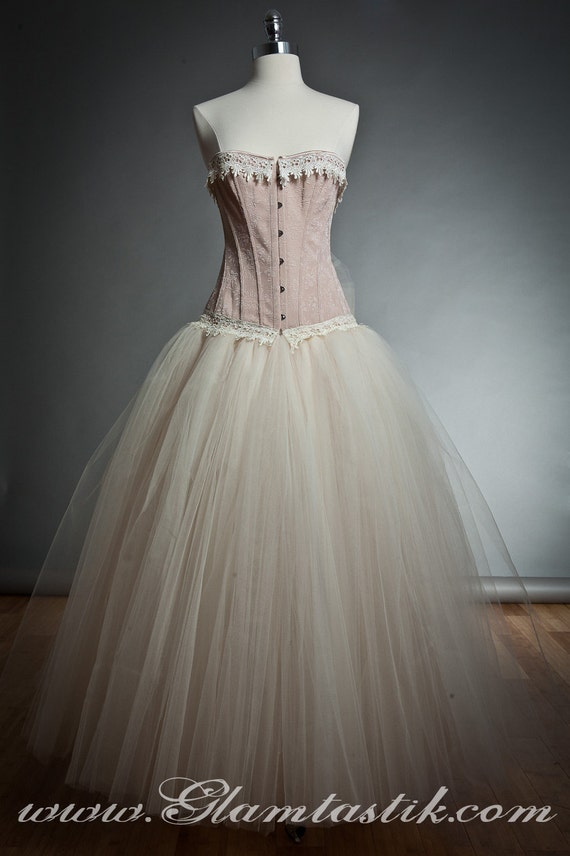 Custom Size Peach and ivory lace burlesque corset prom dress full length