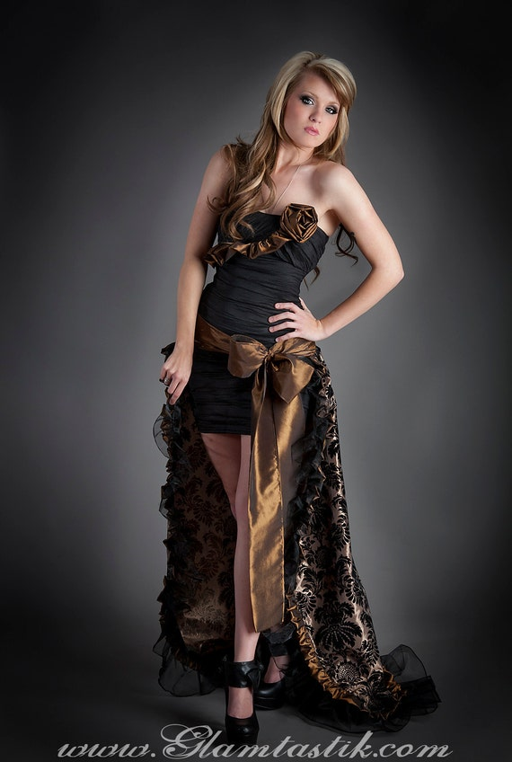 Size Xsmall Black and bronze damask taffeta prom dress with removable train ready to ship OOAK