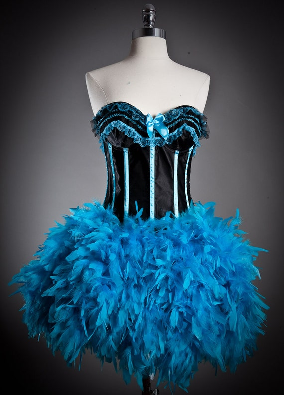 Clearance Size small Black and Turquoise feather and lace Burlesque corset prom dress Ready To Ship