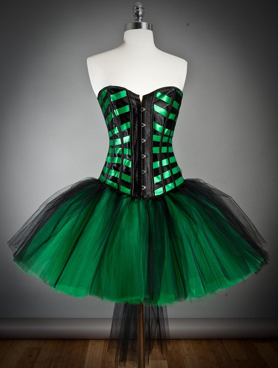 Size Medium Black and Emerald Green Burlesque tulle corset Prom dress  Ready to Ship