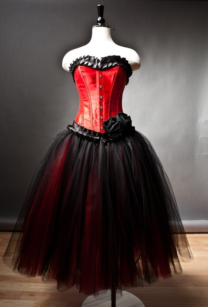 Custom Size Red and Black burlesque corset prom dress tea