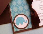 Handmade Boy Baby Shower Invitation with Ribbon - Blue Elephant with Argyle Background