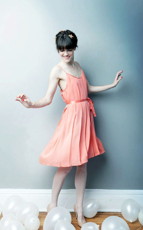 SALE Let Them Eat Meringue Pleated Dress - Coral - READY to SHIP