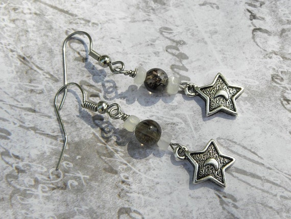 Hekate Wise Woman Smoky Quartz & Moonstone Earrings