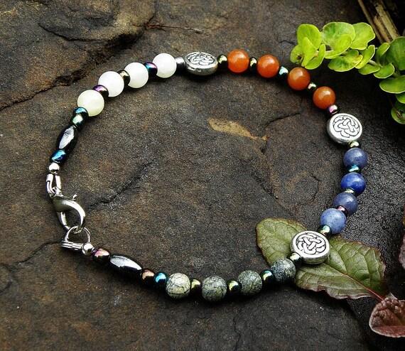 Gemstone Anklet - Four Quarters Four Elements Pagan Circle Casting