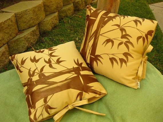 Pair of 18in Pillow Covers with Hand Painted Bamboo on Organic Heavyweight Cotton