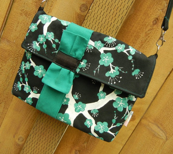 Messenger Style Purse with Hand Painted Cherry Blossoms in Teal, Black and White