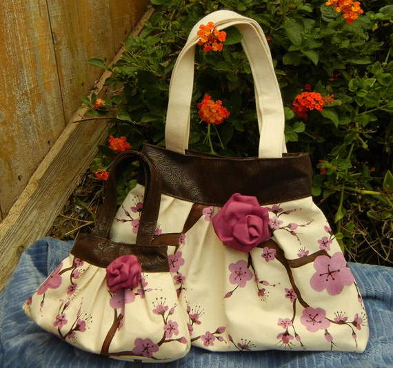 Mommy and Me Ultrasuede Hand Painted Pleated Handbags with Faux Leather trim