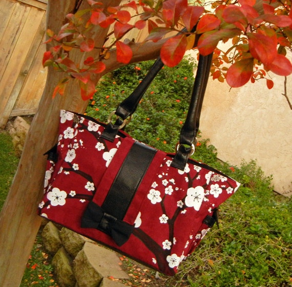 XL Carry All Tote Bag and Laptop Case in Red, White and Black with Hand Painted Cherry Blossoms