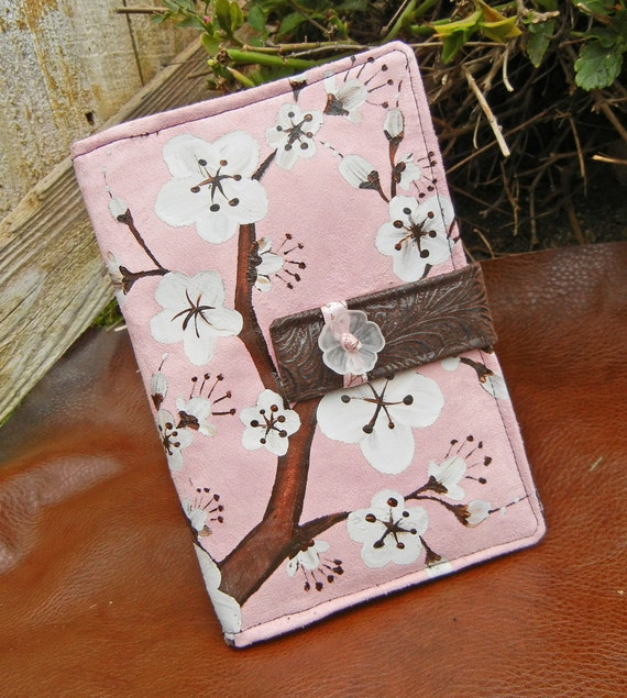 Kindle Fire Cover, Nook Cover, e-reader Cover-Soft Pink Suede Padded Book Style Cover Hand Painted with Cherry Blossoms