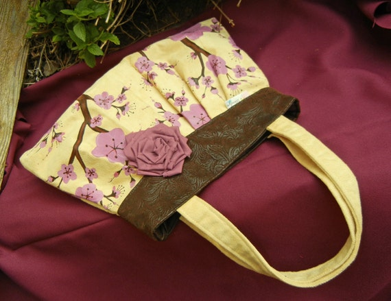 Ultrasuede Hand Painted Pleated Handbag with PInk Cherry Blossoms on Butter Yellow and Faux Leather Trim