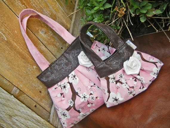 Mommy and Me Pink and Brown Hand Painted Pleated Handbags with Faux Leather trim