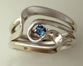 Hand Forged 3 Turn Vortex Ring with Blue Topaz
