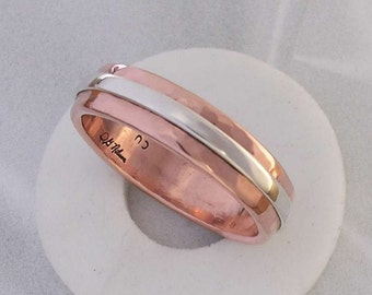 Copper and Sterling Silver Band Ring (The Billy Ring)