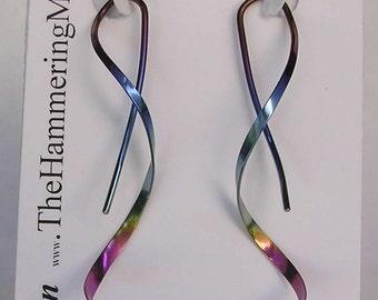 Spiral Earrings - One Piece Design in Pure Niobium